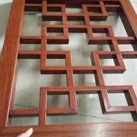 中式仿古木纹烧焊铝合金窗花加工厂家