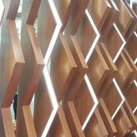 立面木纹隔断凹凸菱形铝方通出售厂家