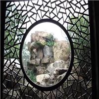 酒店大厅复古花式铝屏风 仿木纹铝花窗