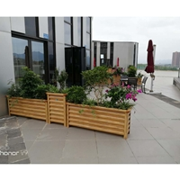 防腐木色铝合金花箱,城市道路铝合金花坛