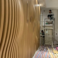 梧州东高铁站幕墙装饰造型木纹铝方通
