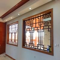 木纹铝窗花中式防盗网-铝合金窗花