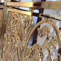 别墅铜艺铝楼梯扶手-铝雕铜艺屏风楼梯护栏