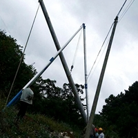 12米分体式三脚立杆机加机动绞磨施工