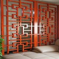 承德木纹屏风铝花格装潢  木纹铝窗花供应商