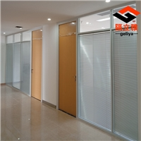 办公高隔间双层玻璃阻遏内置百叶玻璃隔墙
