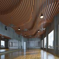 外墙吊顶装饰造型铝方通-木纹色弧形铝方通