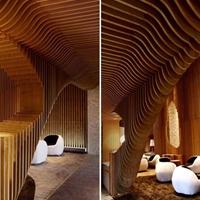 餐厅造型弧形铝方通吊顶_室内幕墙装饰氟碳