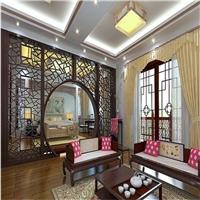 中式风格装饰专用仿古铝窗花_木纹铝花格