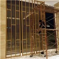 古典复古木纹铝花格装饰产品