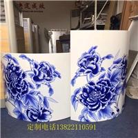 蓝色3D打印青花瓷铝单板加工厂