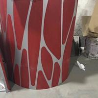 3D红色_灰色彩印铝单板(双色包柱)定购