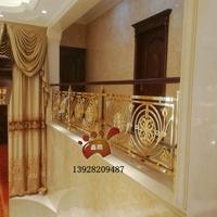 别墅装潢楼梯铝艺雕花镂空镀仿古铜楼梯护栏