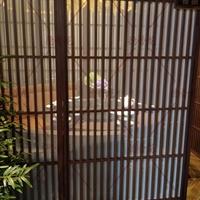 川国演义餐厅铝合金隔断-铝花格定制