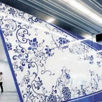 彩绘铝板装饰3D打印青花瓷铝单板
