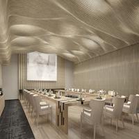 电影院弧形木纹铝方通_室内幕墙不规则方通