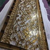 仿古铜欧式铝艺雕花花格铝板镂空浮雕屏风