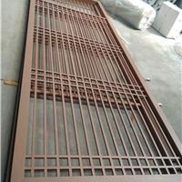 木色铝格栅隔断-中式铝合金格栅定做