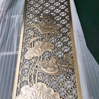 欧式黄古铜镀金屏风双面镂空浮雕屏风