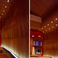 造型幕墙弧形铝方通_幕墙木纹弧形铝方通