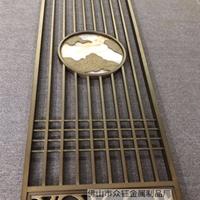 中式雕刻祥云镶玉铝艺屏风 醇厚古典