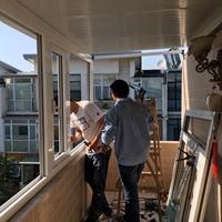 北七家美树嘉园彩钢板阳光房 断桥铝封阳台