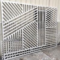仿古塔楼铝方通焊接方格木纹铝屏风
