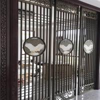 中式青古铜铝板雕刻祥云夹玉石屏风