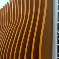 學校實驗室裝飾木紋鋁方通_墻身弧形鋁方通