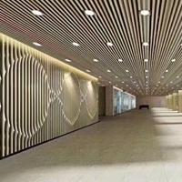 港式餐厅弧形铝方通墙面装潢效果