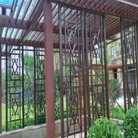 园林凉亭菱格古铜色铝屏风大小铝管订制