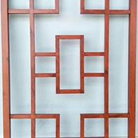 复式金属铝花格-木纹铝格栅窗花定做