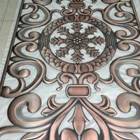 中式红古铜铝板雕花隔断 双面浮雕镂空屏风