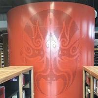 新时代大圆柱红色鬼脸3D彩印铝板独特款