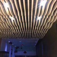 学校造型弧形铝方通吊顶_木纹弧形铝方通