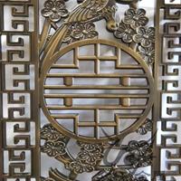 酒店大堂拉絲紅古銅鋁藝鏤空格柵屏風廠家