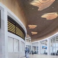 广西钦州东站公共区域造型弧形铝方通吊顶