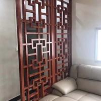 木色鋁合金花格-仿古防盜窗定做