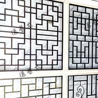 售楼部装饰木纹铝窗棂花格仿古铝格栅