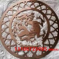 中式红古铜铝板雕花镂空屏风实物效果图