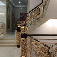 欧式K金别墅铜楼梯款式  复式镀金护栏厂家