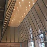 售楼部木纹铝花格装饰 木纹铝窗花 定制