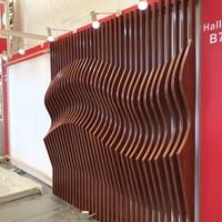 木色弧形铝方通吊顶-烧焊凹凸铝板