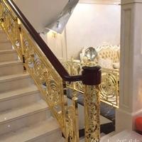 英德酒店会所铝板楼梯雕刻护栏轻奢定制