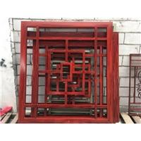 供应仿木纹中式金属格栅 木纹色铝花格窗
