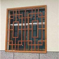 农庄走廊装饰铝窗花 木色铝花格窗材料