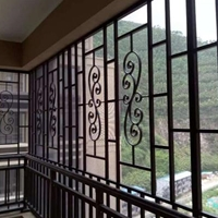 佛山廠家來圖訂制鋁窗花中式木紋鋁窗花