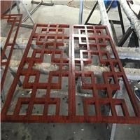 楼房售卖部仿木铝花格窗厂家定制仿古铝花格屏风