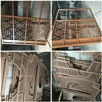 江苏度假村烤漆铝花格-中式铝屏风隔断