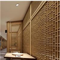 格子木纹铝花格-幕墙餐厅装饰